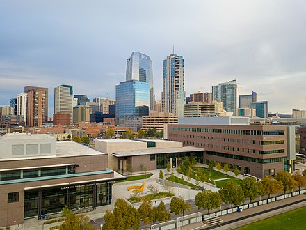 The Lola and Rob Salazar Student Wellness Center (left) and Student Commons Building (right) on the downtown Denver campus. CU Denver Student Wellness Center and Student Commons Building on the Downtown Denver Campus .jpg