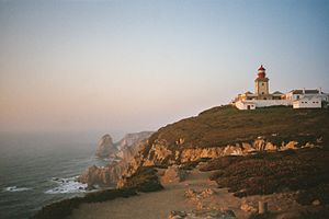 Cabo da Roca - The Cabo da Roca lighthouse, overlooking the promontory towards the Atlantic Ocean