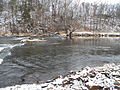 Cacapon River at the site of the former rubble damn for Hook's Mill..JPG