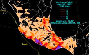 Hurricane Calvin (1993) - Calvin's rainfall across southern Mexico