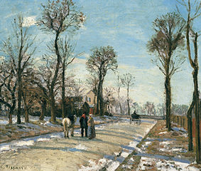 Route de Versailles, Louveciennes, Winter Sun and Snow