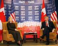 Canadian Prime Minister Stephen Harper and U.S. State Secretary Hillary Clinton at the Haiti Ministerial Preparatory Conference in Montreal, January 25, 2010.jpg
