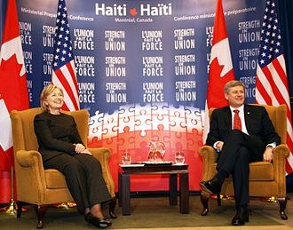 Foreign relations of Canada - Former Canadian Prime Minister Stephen Harper and U.S. Secretary of State Hillary Clinton at the Haiti Ministerial Preparatory Conference addressing earthquake relief in Montreal, January 25, 2010