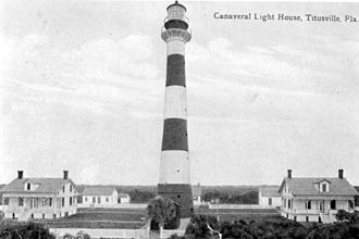 Cape Canaveral Light - The station in 1910 with all the keepers' quarters and the tower with black lantern room