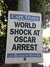 Cape Times newspaper poster dated 15 February 2013 about the arrest of Oscar Pistorius.jpg