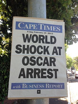 2013 in South Africa - Cape Times billboard following the arrest of Pistorius in February 2013