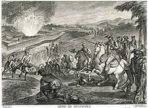 Siege of Pensacola - A 1783 engraving depicting the exploding magazine