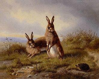 Easter egg (media) - Image: Carl Oswald Rostosky Zwei Kaninchen und ein Igel 1861