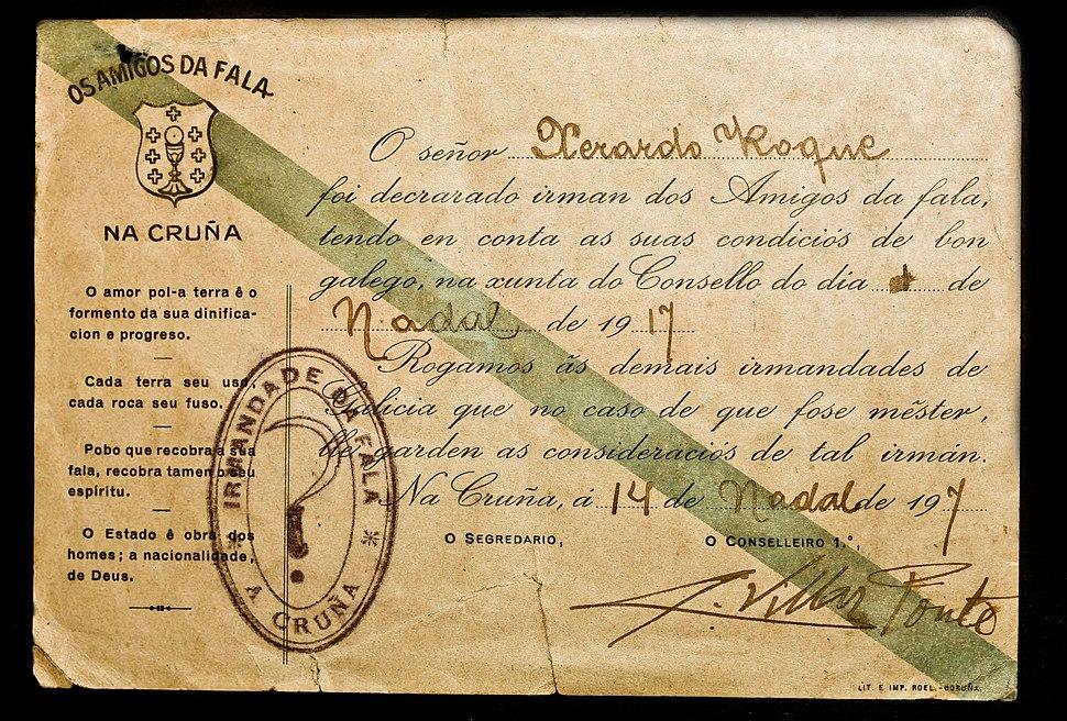 Carné das Irmandades da Fala asinado por A. Villar Ponte.