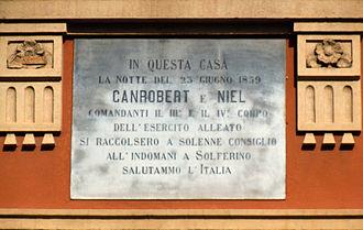 François Certain de Canrobert - Commemorative plaque honouring François Certain de Canrobert and Adolphe Niel in Carpenedolo.