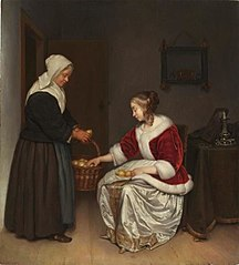 Two Women in an Interior with a Basket of Lemons