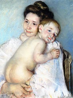 Cassatt Mary The Young Mother (Mother Berthe holding her baby) c. 1900