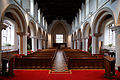 Castle Hedingham, St Nicholas' Church, Essex England, nave and tower arch from the east.jpg