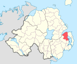 Location of Castlereagh Lower, County Down, Northern Ireland.
