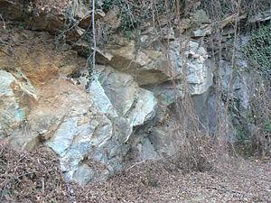 Listwanite - A quarry of listwanite in the region of Aosta Valley, in Italy.
