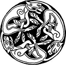 Certi intrecci sono composti unicamente di figure animali (qui un cane o lupo)