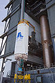 Centaur upper stage lifted up to put on the first stage of the Atlas V.jpg