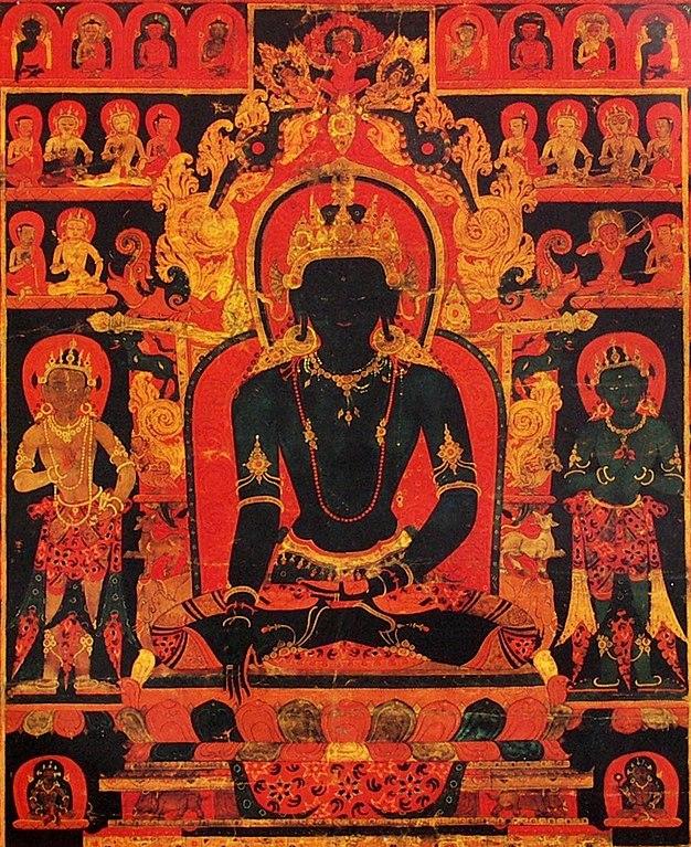 File:Center detail, 'The Dhyani Buddha Akshobhya', Tibetan