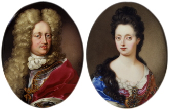 Charles Boit - A pair of miniatures of Johann Wilhelm, Elector Palatine and his second spouse Anna Maria Luisa de' Medici, painted by Boit in 1700 during his stay in Düsseldorf (Bayerisches Nationalmuseum, Munich)