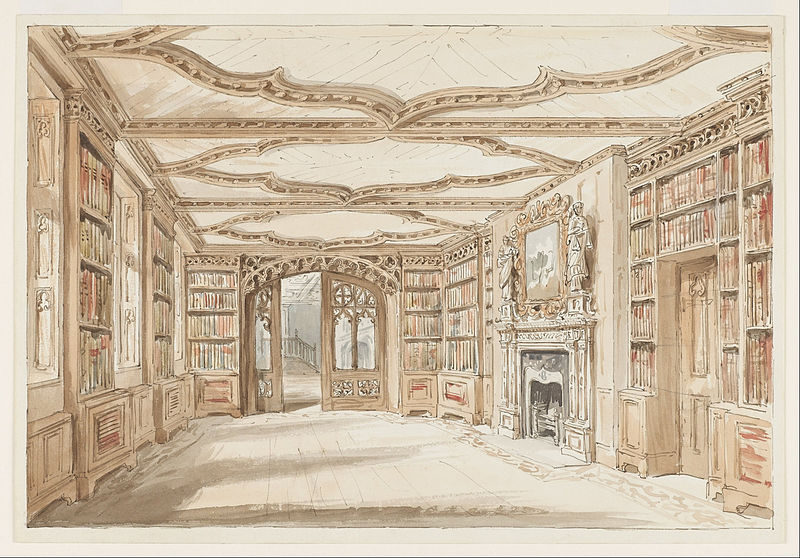 File:Charles James Richardson - Interior View of a Library in Gothic Style - Google Art Project.jpg