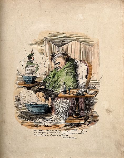 File:Charles Kean, ill with flu. Coloured etching. Wellcome V0011159.jpg