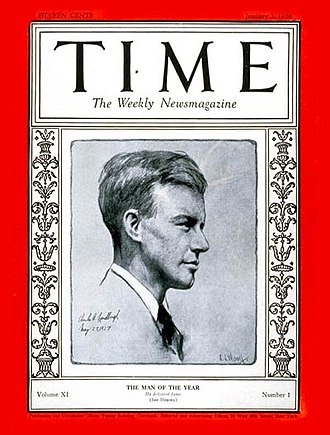 Time Person of the Year - Image: Charles Lindbergh Time cover 1928
