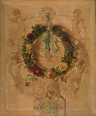 Engelengroep met bloemkrans (dessus de porte)
