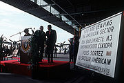 Former United States President Ronald Reagan is presented the famous but now obsolete 'you are leaving sign' at Tempelhof Airport on September 14, 1990.