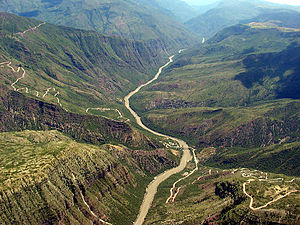 Chicamocha Canyon - View of the Chicamocha River in the Chicamocha Canyon