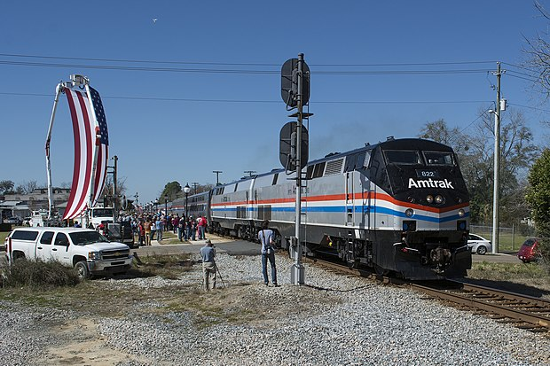 Amtrak's Return to Service Special arrives in Chipley, Florida, on February 19, 2016. Chipley FL for Wikipedia Sunset Limited page.jpg