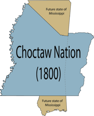 Choctaw Trail of Tears -  The complete Choctaw Nation shaded in blue in relation to the U.S. state of Mississippi.
