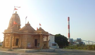 Bhadresar - Chokhanda Mahadev Temple; OPG power plant is visible in the background