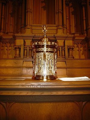 Church tabernacle - The tabernacle at St Raphael's Cathedral in Dubuque, Iowa, placed on the old high altar of the cathedral (cf. General Instruction of the Roman Missal, 315, a)