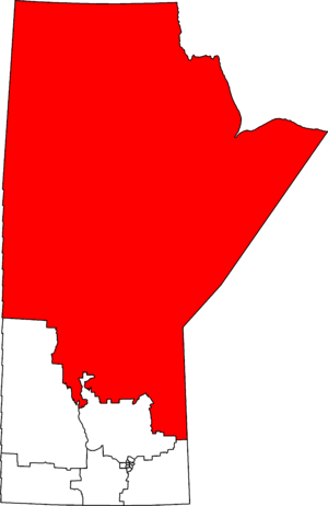 Churchill—Keewatinook Aski - Churchill—Keewatinook Aski in relation to other Manitoba federal electoral districts as of the 2013 Representation Order.