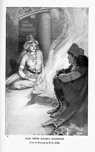 "Ethniu - ""Cian Finds Balor's Daughter"", drawing by H.R. Millar, c. 1905."