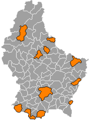 Communes of Luxembourg - The cities of Luxembourg, colored in orange.