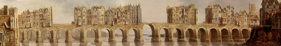 Detajl Starega Londonskega mostu leta 1632, oljna slika View of London Bridge, Claude de Jongh