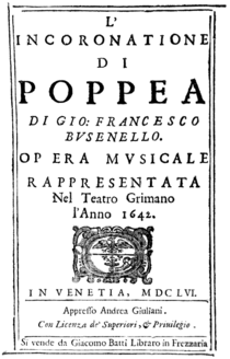 Claudio Monteverdi - L'incoronazione di Poppea - title page of the libretto - Venice 1656.png