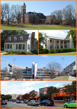 Top, left to right: Fort Hill, Tillman Hall at Clemson University, Memorial Stadium, College Avenue, Hanover House, Old Stone Church and Cemetery