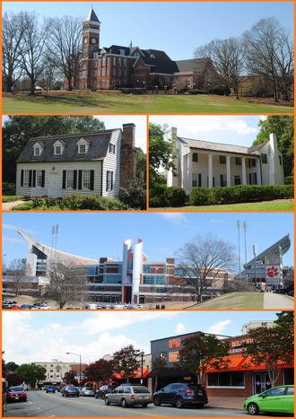 Clemson, South Carolina - Top, left to right: Tillman Hall, Hanover House, Fort Hill, Memorial Stadium, College Avenue