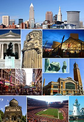 Do topo, em sentido horário: panoramado de Downtown Cleveland; o Rock and Roll Hall of Fame; estátua da Fountain of Eternal Life; o West Side Market; West Pierhead Lighthouse; FirstEnergy Stadium; o James A. Garfield Memorial; East 4th Street; entrada sul do Museu de Arte de Cleveland; e uma das oito Guardians of Traffic