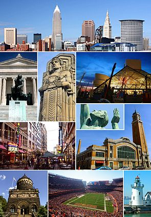 Clockwise, from top: Downtown Cleveland skyline; the Rock and Roll Hall of Fame; Fountain of Eternal Life statue; the West Side Market; West Pierhead Lighthouse; FirstEnergy Stadium; the James A. Garfield Memorial; East 4th Street; south entrance to the Cleveland Museum of Art; and one of the eight Guardians of Traffic