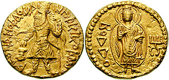 "Kushan coinage - Gold coin of Kanishka I, with a depiction of the Buddha, with the legend ""Boddo"" in Greek script;Ahin Posh"