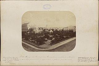 Campo das Princezas em Pernambuco mostrando o theatro a assemblea provincial o gymnasio e palacio presidencial