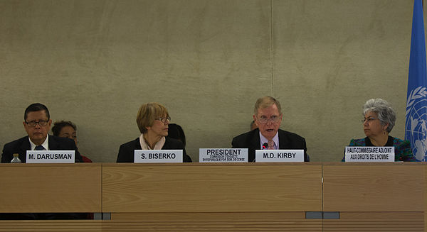 Commissioners Marzuki Darusman, Sonja Biserko, and Michael Donald Kirby (Chair) present their report to the UN Human Rights Council