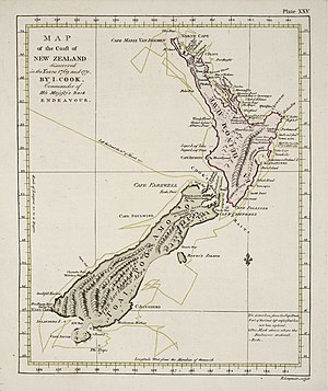 First voyage of James Cook - Cook's map of New Zealand