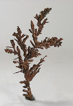 An elegant fan of native copper from the White Pine mine. Size 12.3 x 6.8 x 0.1 cm.