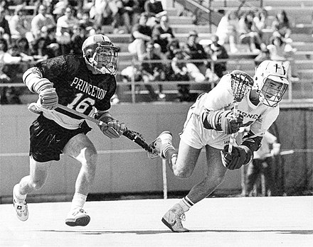 Cornell and Princeton are longtime lacrosse rivals Cornell University vs Princeton Lacrosse 1987.jpg