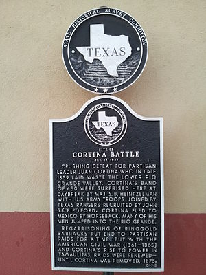 Cortina Troubles - Texas Historical Marker in Rio Grande City