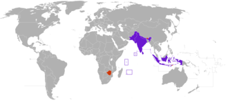 Rupee - Purple: Countries using the rupee as an official currency    India, Indonesia, Maldives, Mauritius, Nepal, Pakistan, Seychelles, Sri Lanka    Orange: Countries where a foreign country's rupee is legal tender    Indian rupee: Bhutan, Nepal, Zimbabwe     Indonesian rupiah: East Timor